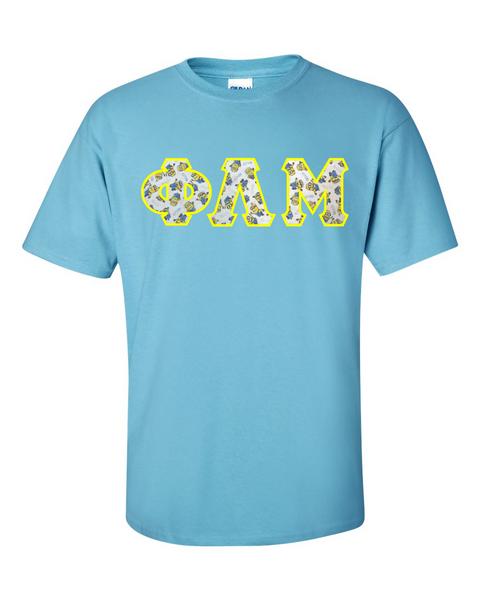 Minions Greek Lettered Light Blue T-Shirt.