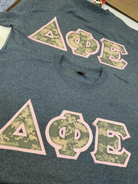 Delta Phi Epsilon Digital Camo Greek letter t-shirts