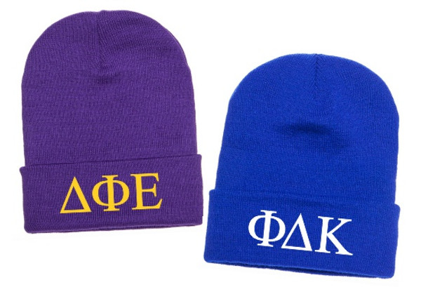 2 Embroidered Greek Letter Beanies Bundle