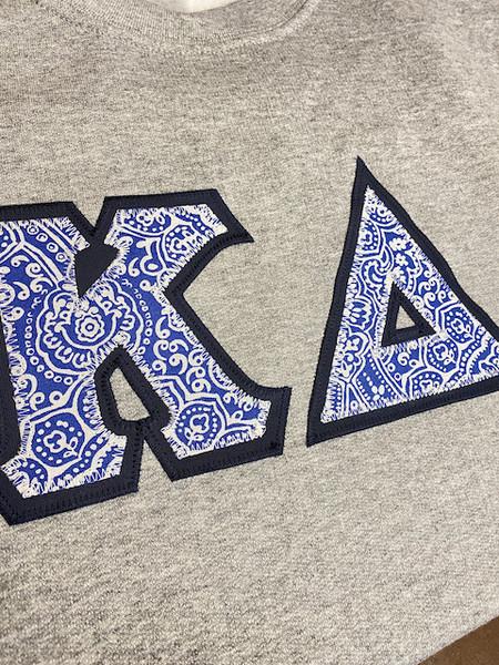 Kappa Delta Blue Motif Greek Letter Crewneck Sweatshirt