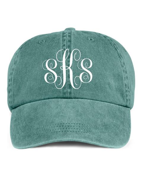 Script Monogrammed Pigment Dyed Hat