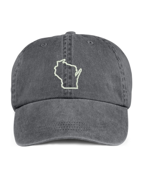 Wisconsin State Map Outline Embroidered Hat