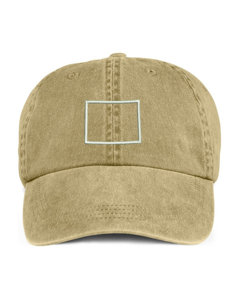 Wyoming State Map Outline Embroidered Hat