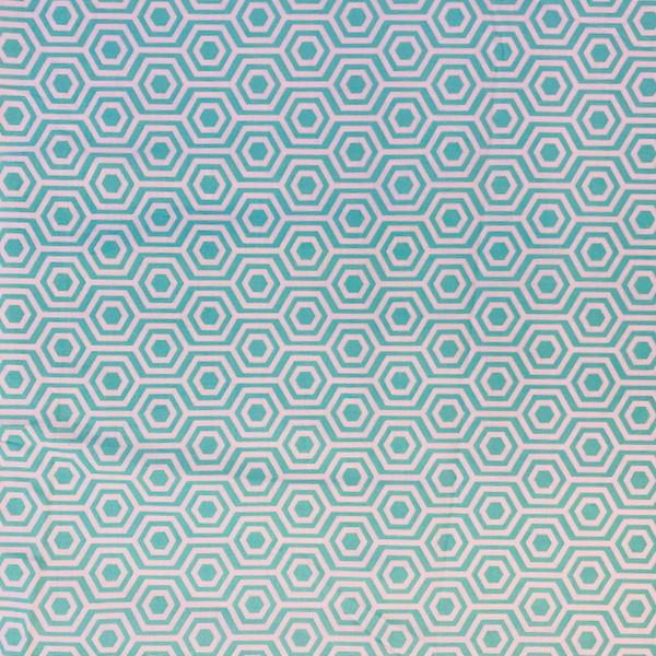 seafoam green colored geometric greek letter pattern fabric