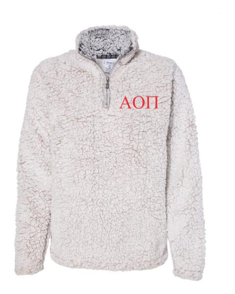 Greek Letter Embroidered Fleece Sherpa Jacket
