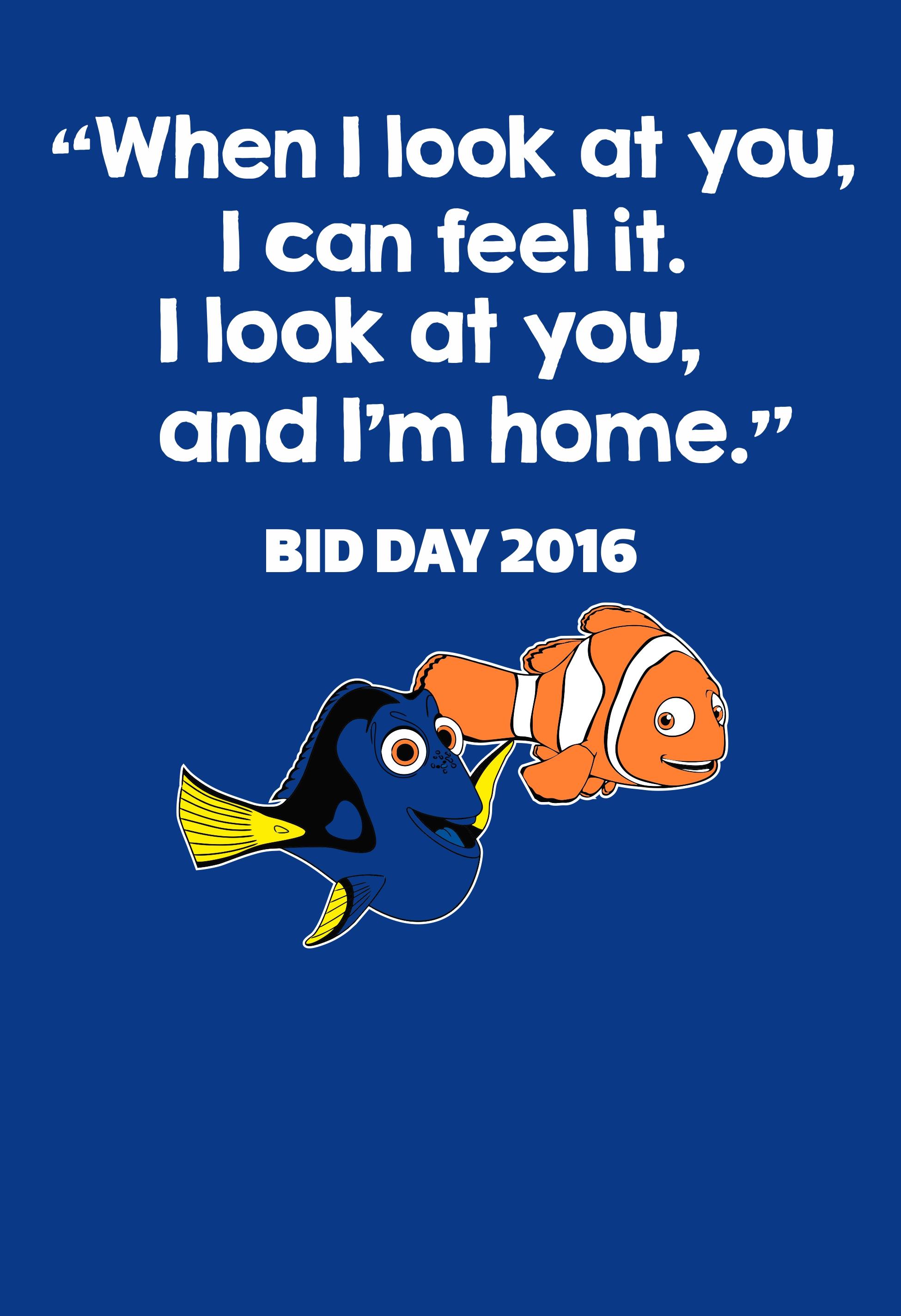 Finding Nemo themed screen print on a royal blue shirt