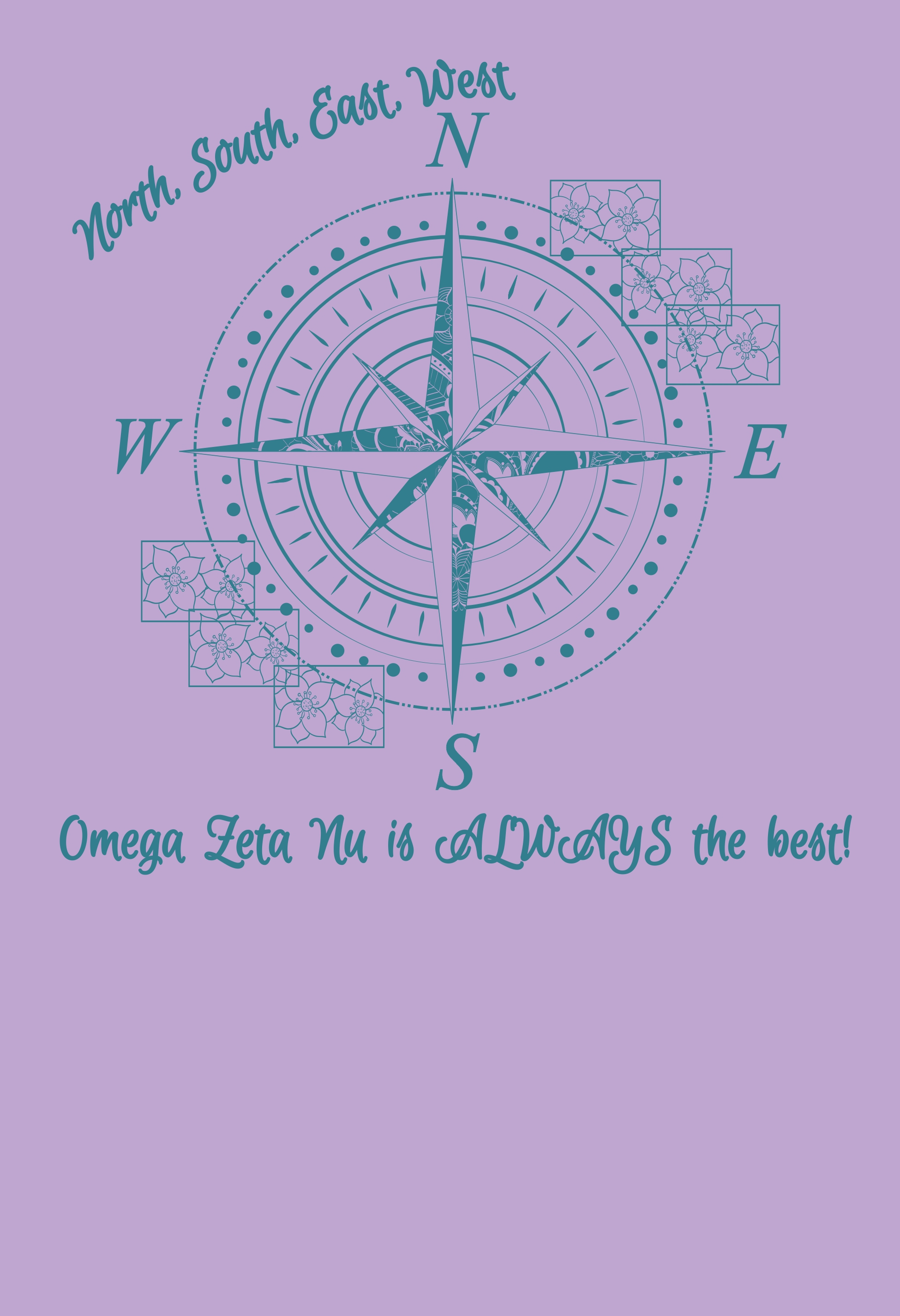 Blue compass sorority design on a lilac colored t-shirt