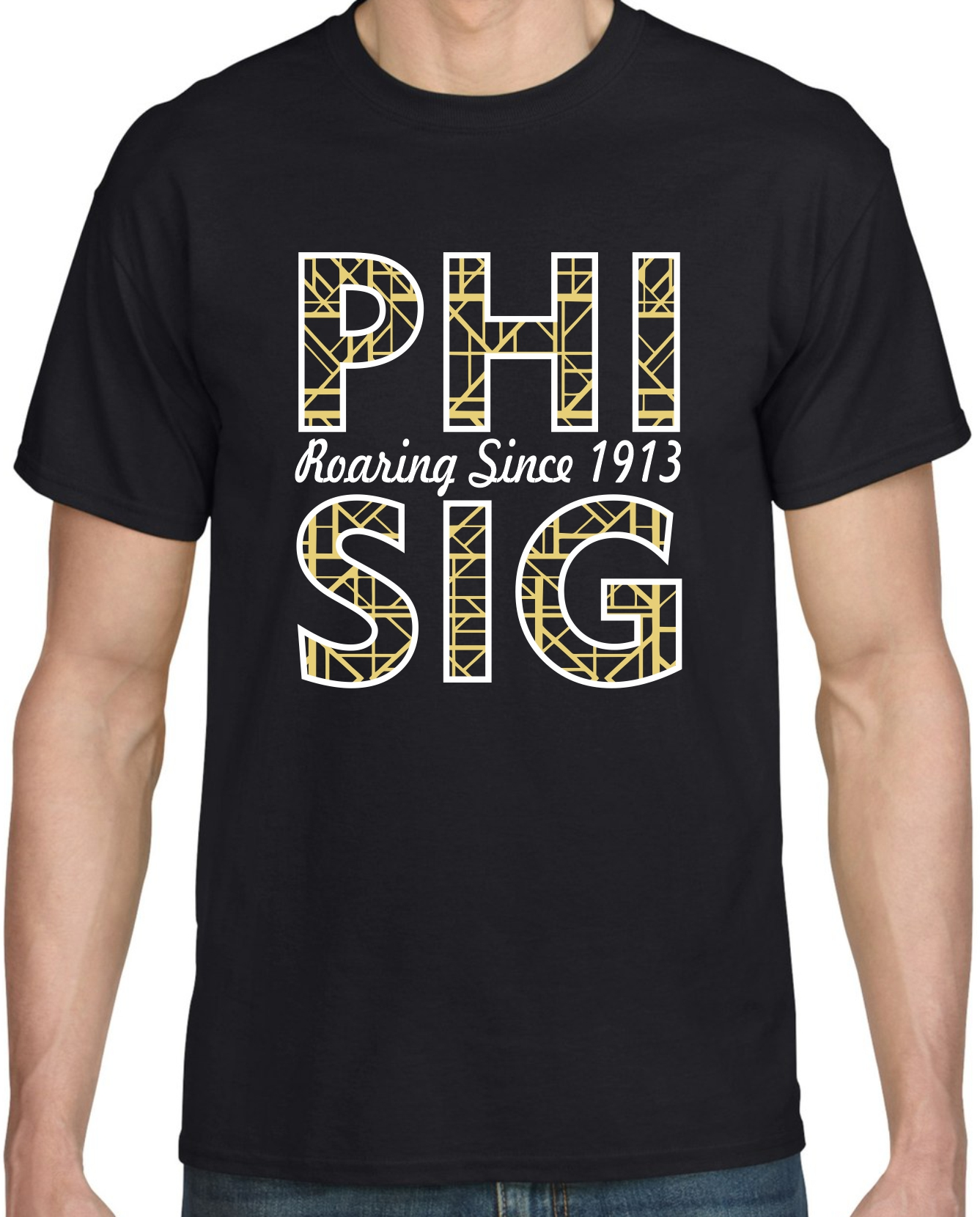 Phi Sigma Sigma Roaring 20's themed print on a black shirt
