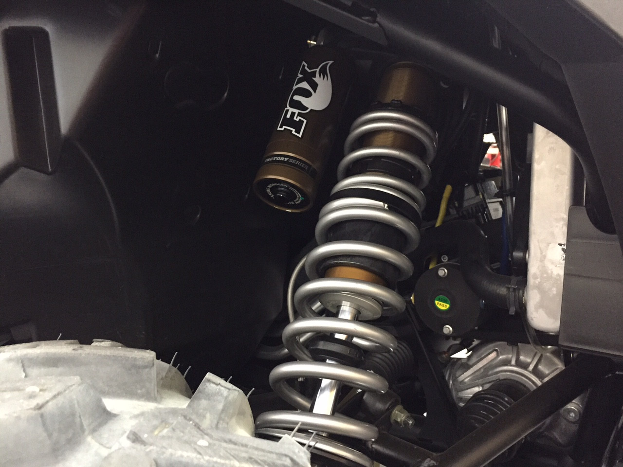 Front shock installed with dual rate springs