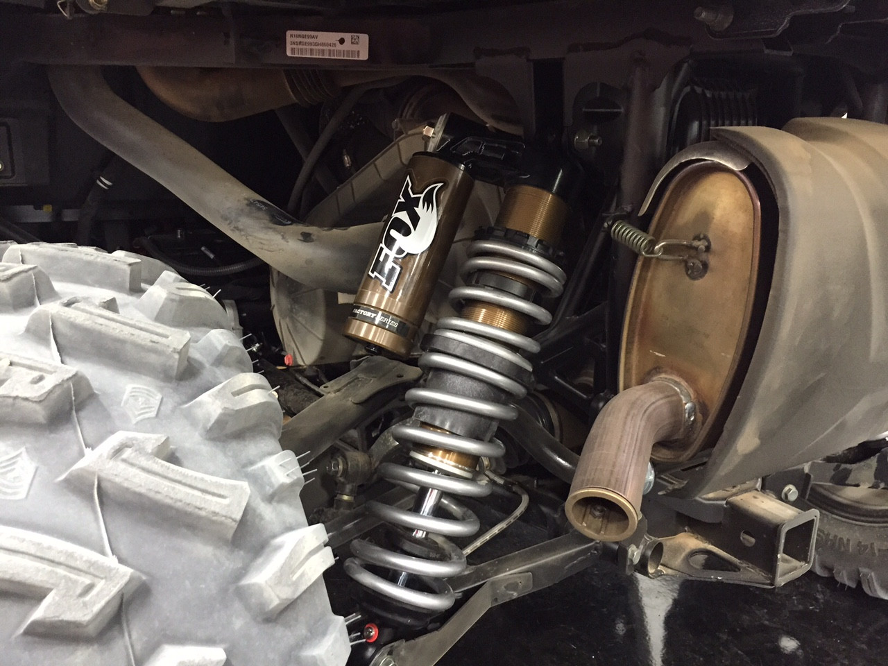 Rear shock installed with dual rate springs