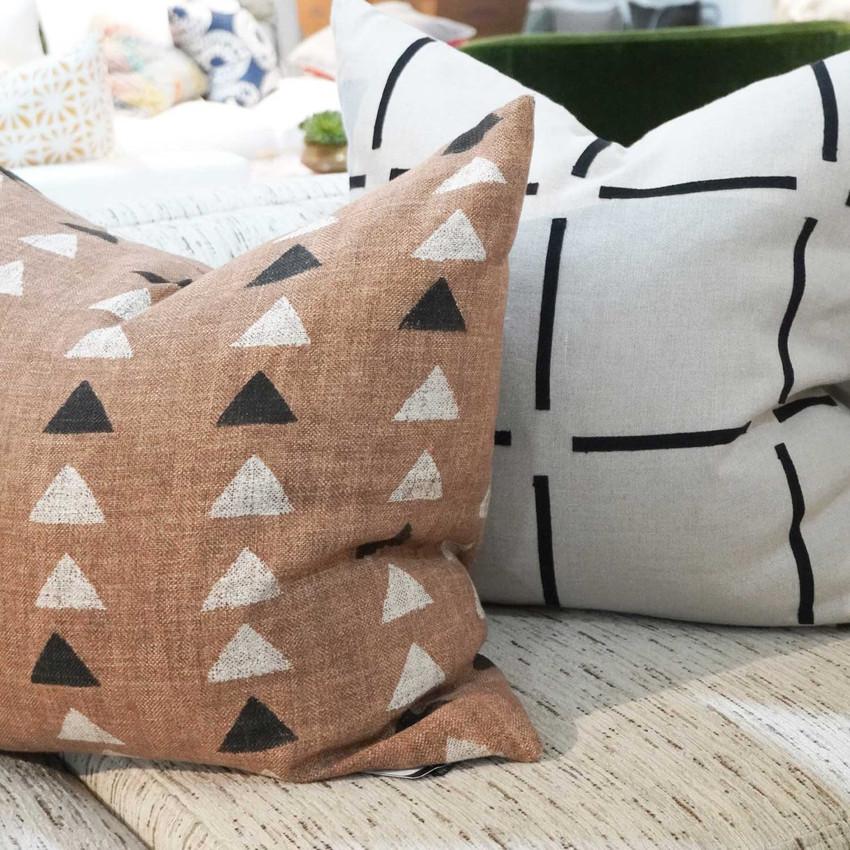 Moss Home Darts Pillow,  trend throw pillow, accent pillow, darts throw pillow in clay