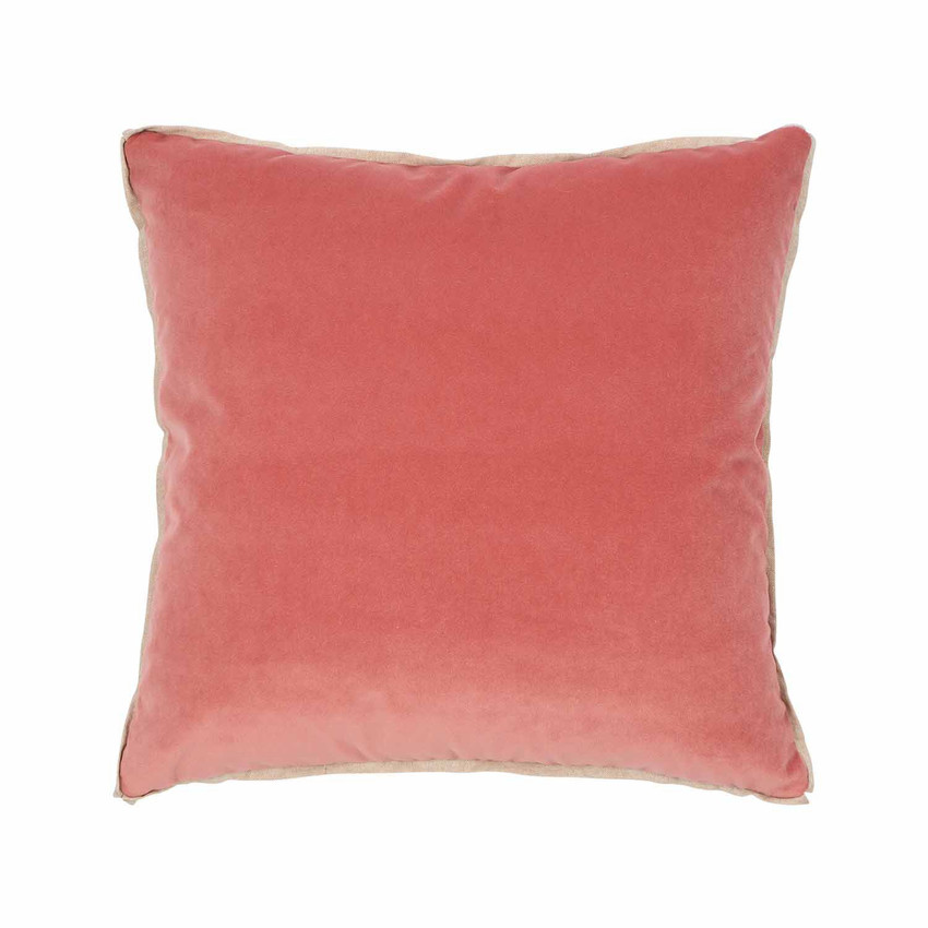Moss Home Banks Pillow in Coral, velvet throw pillow, accent pillow, decorative pillow