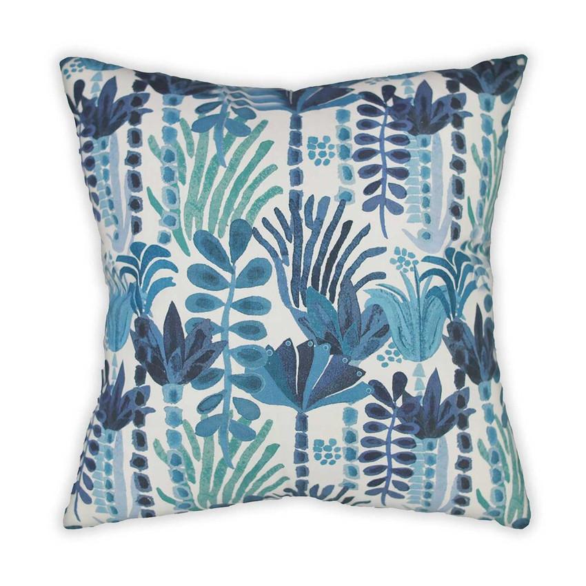 Moss Home Jardin Pillow, trend throw pillow, accent pillow, decorative pillow, Jardin trend pillow in indigo