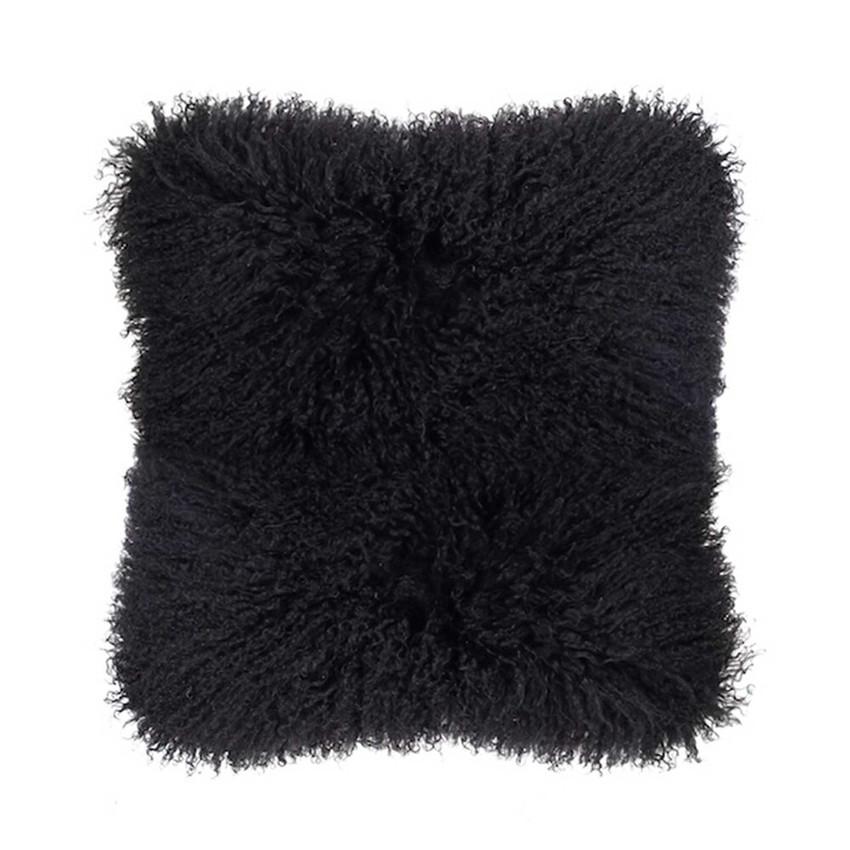 Moss Home Mongolian Pillow, throw pillow, accent pillow, decorative pillow,  mongolian pillow in black