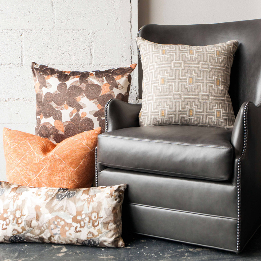 "Moss Home Blossom 22"" Pillow in Pomegranate, 22"" throw pillow, accent pillow, decorative pillow"