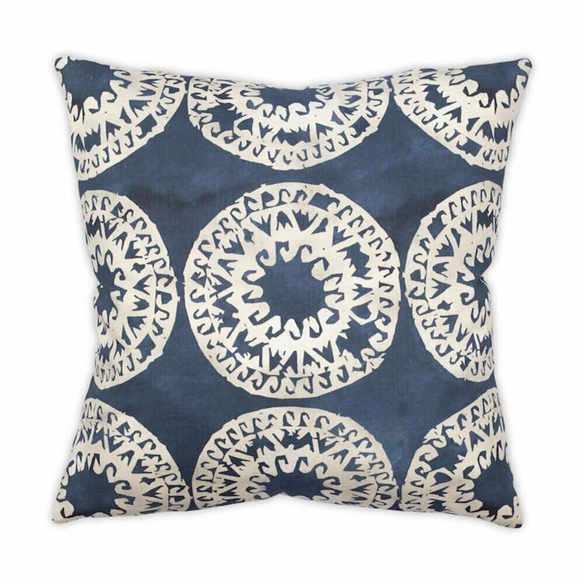 "Moss Home Mandala 22"" Pillow in Indigo, 22"" throw pillow, accent pillow, decorative pillow"