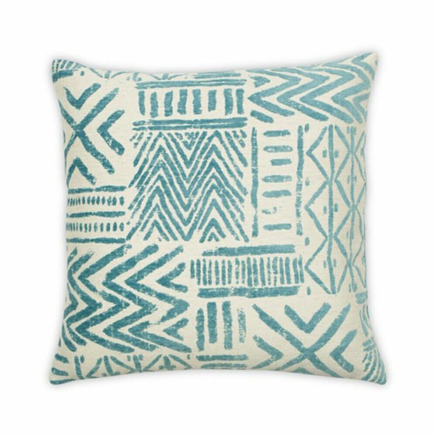 "Moss Home Toltec 22"" Pillow in Aqua, trend throw pillow, accent pillow, decorative pillow"