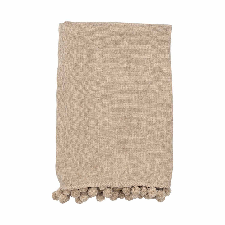 Moss Home Genie Throw, throw with linen pompoms, decorative throw, genie throw in flax with linen pompom
