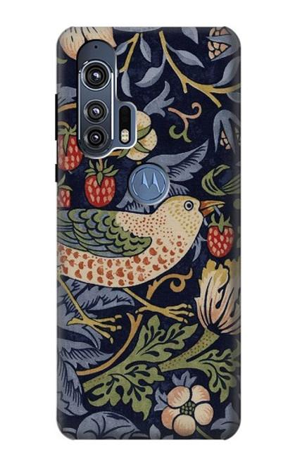 S3791 William Morris Strawberry Thief Fabric Case For Motorola Edge+