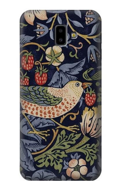 S3791 William Morris Strawberry Thief Fabric Case For Samsung Galaxy J6+ (2018), J6 Plus (2018)