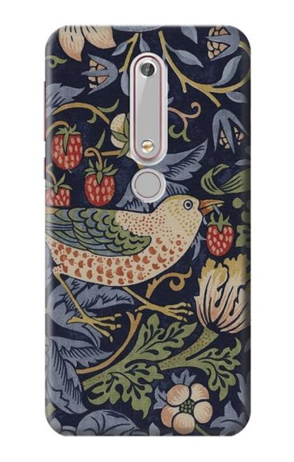S3791 William Morris Strawberry Thief Fabric Case For Nokia 6.1, Nokia 6 2018