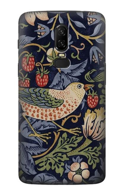 S3791 William Morris Strawberry Thief Fabric Case For OnePlus 6