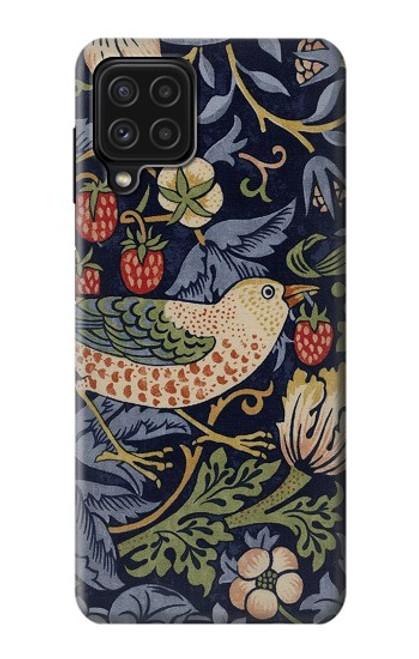 S3791 William Morris Strawberry Thief Fabric Case For Samsung Galaxy A22 4G