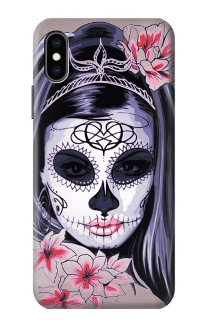 S3821 Sugar Skull Steam Punk Girl Gothic Case For iPhone X, iPhone XS