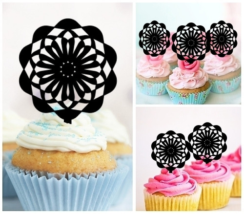 TA0005 Ferris Wheel Silhouette Party Wedding Birthday Acrylic Cupcake Toppers Decor 10 pcs