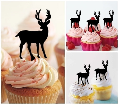 TA0006 Stag Deer Silhouette Party Wedding Birthday Acrylic Cupcake Toppers Decor 10 pcs