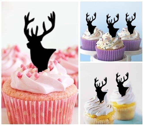 TA0009 Stag Deer Head Silhouette Party Wedding Birthday Acrylic Cupcake Toppers Decor 10 pcs
