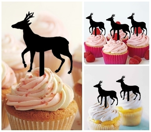 TA0010 Deer Silhouette Party Wedding Birthday Acrylic Cupcake Toppers Decor 10 pcs