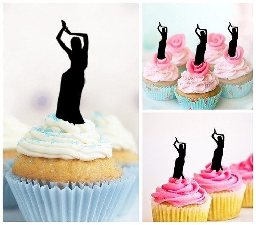 TA0011 Indian Dance Silhouette Party Wedding Birthday Acrylic Cupcake Toppers Decor 10 pcs