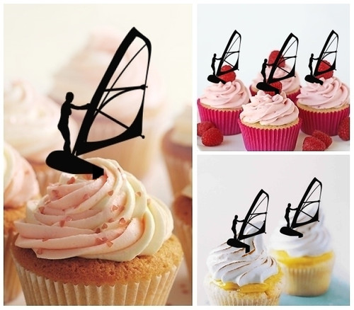 TA0016 Windsurfing Silhouette Party Wedding Birthday Acrylic Cupcake Toppers Decor 10 pcs