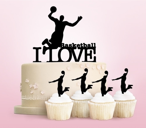 TC0003 I Love Basketball Party Wedding Birthday Acrylic Cake Topper Cupcake Toppers Decor Set 11 pcs