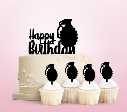 TC0016 Happy Birthday Explosion Hand Grenade Party Wedding Birthday Acrylic Cake Topper Cupcake Toppers Decor Set 11 pcs