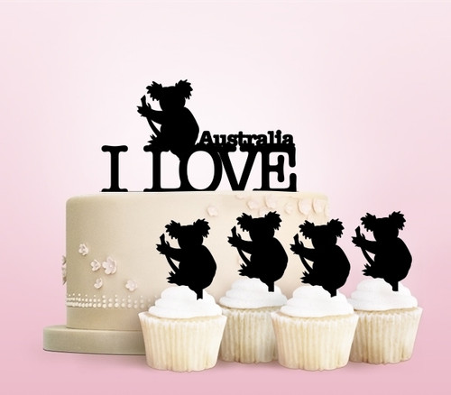 TC0017 I Love Australia Koala Party Wedding Birthday Acrylic Cake Topper Cupcake Toppers Decor Set 11 pcs