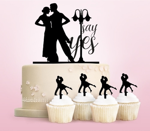 TC0018 Marriage Proposal Say Yes Party Wedding Birthday Acrylic Cake Topper Cupcake Toppers Decor Set 11 pcs