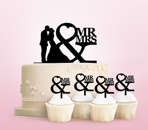 TC0247 Mr and Mrs Kiss Party Wedding Birthday Acrylic Cake Topper Cupcake Toppers Decor Set 11 pcs