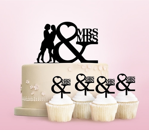 TC0248 Mrs and Mrs Love Party Wedding Birthday Acrylic Cake Topper Cupcake Toppers Decor Set 11 pcs