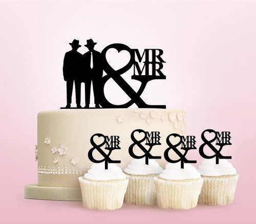 TC0249 Mr and Mr Cowboy Love Party Wedding Birthday Acrylic Cake Topper Cupcake Toppers Decor Set 11 pcs