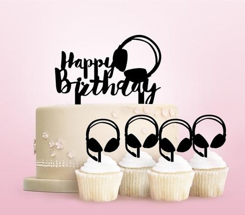 TC0251 Happy Birthday Headphone Party Wedding Birthday Acrylic Cake Topper Cupcake Toppers Decor Set 11 pcs