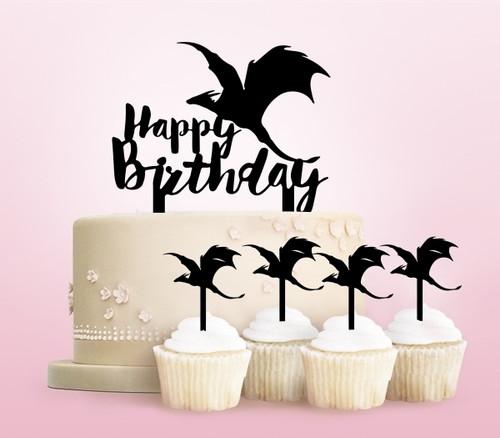 TC0252 Happy Birthday Flying Dragon Party Wedding Birthday Acrylic Cake Topper Cupcake Toppers Decor Set 11 pcs