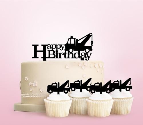 TC0254 Tow Truck Happy Birthday Party Wedding Birthday Acrylic Cake Topper Cupcake Toppers Decor Set 11 pcs