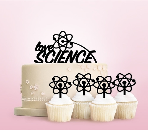 TC0259 Love Science Party Wedding Birthday Acrylic Cake Topper Cupcake Toppers Decor Set 11 pcs
