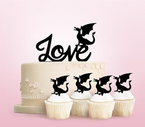TC0260 Love Dragon Monster Party Wedding Birthday Acrylic Cake Topper Cupcake Toppers Decor Set 11 pcs