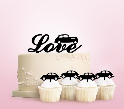 TC0261 Love Old Car Party Wedding Birthday Acrylic Cake Topper Cupcake Toppers Decor Set 11 pcs