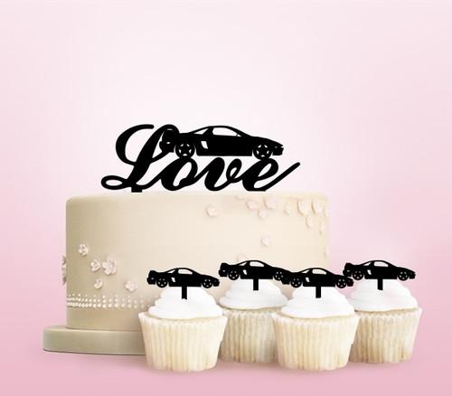 TC0264 Love Racing Car Party Wedding Birthday Acrylic Cake Topper Cupcake Toppers Decor Set 11 pcs