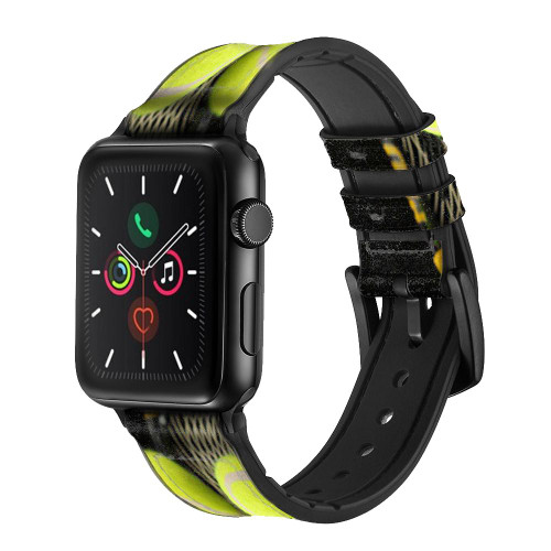 CA0008 Tennis Leather & Silicone Smart Watch Band Strap For Apple Watch iWatch