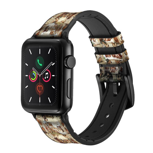 CA0017 Michelangelo Chapel ceiling Leather & Silicone Smart Watch Band Strap For Apple Watch iWatch